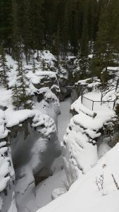 Jasper's winter beauty... Maligne Canyon, Jasper, covered in snow | #jasper #jaspernationalpark #visitjasper