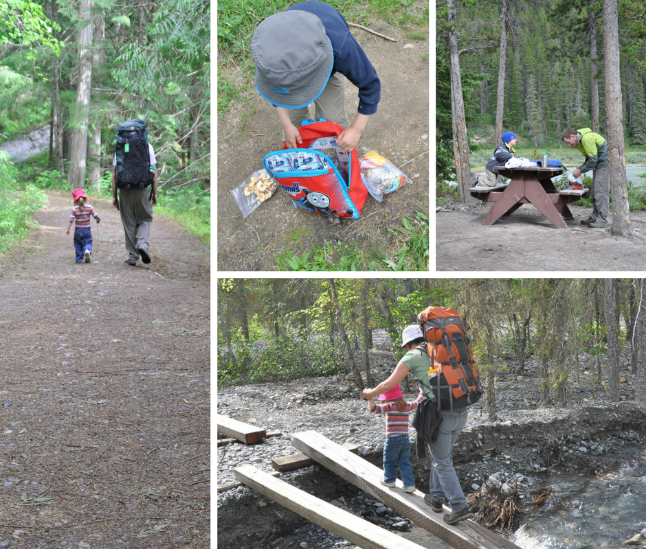 Collage images of backpacking with kids, families wearing large backpacks, eating at picnic table, crossing a creek.
