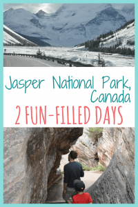 Snow covered mountains and a father and son descending through a rock walkway at Athabasca Falls in Jasper National Park, text reads Jasper National Park 2 fun-filled days