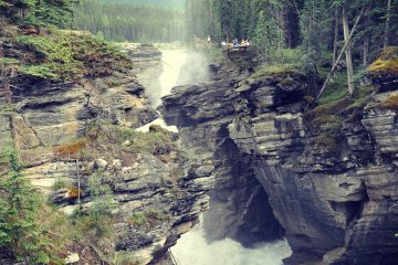 The deep waterfall at Athabasca Falls in Jasper National Park