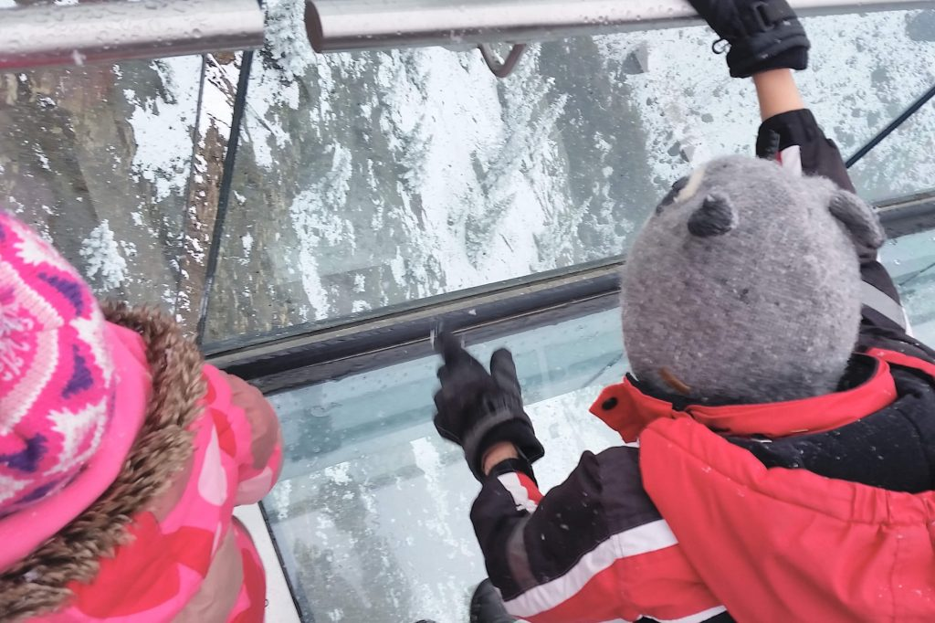 Two kids looking through a glass bottomed walkway at the Skywalk in Jasper