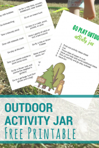 image of a free printable activity jar idea list. text reads outdoor activity jar free printable