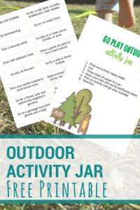 image of a free printable activity jar idea list. text reads outdoor activity jar free printable