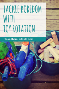 outdoor toys in blue metal bins, text reads tackle boredom with toy rotation