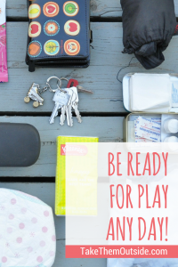items found in a mom's purse, wallet, keys, first aid, tissues, diaper, text reads be ready for play any day