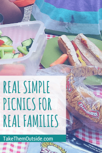 hot dogs, vegetables, and buns on a red checkered table cloth, text reads real simple picnics for real families