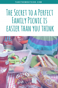 kids sitting at a picnic table covered in simple picnic foods like hotdogs and cut veggetables