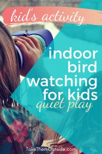 a girl using children's binoculars to do some indoor birdwatching