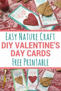 Easy Valentine's Day Nature Craft Cards   #valentinesday #diyvalentines #naturecraft #printablevalentinescards #printablecraft
