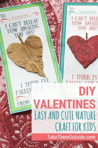 Try these cute and easy nature craft valentine's day cards this year! Printable included   #printablecvalentines #valentinesday #kidsvalentines #printablecrafts #naturecrafts