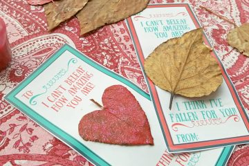 Printable Valentines Day Nature Craft Cards on a floral tablecloth