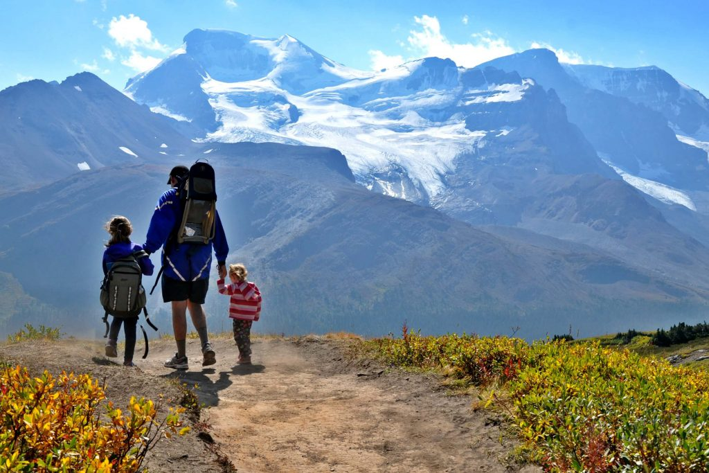 dad and kids hiking with glaciers and mountains in the distance at wilcox pass in Jasper