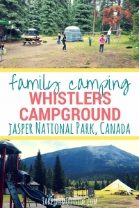 A family playing badminton and a picture of the playground at Whistlers Campground in Jasper National Park. Text reads: family camping whistlers campground jasper national park