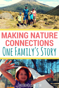 a family with Mt. Taranaki of New Zealand in the background. text reads making nature connections, one family's story