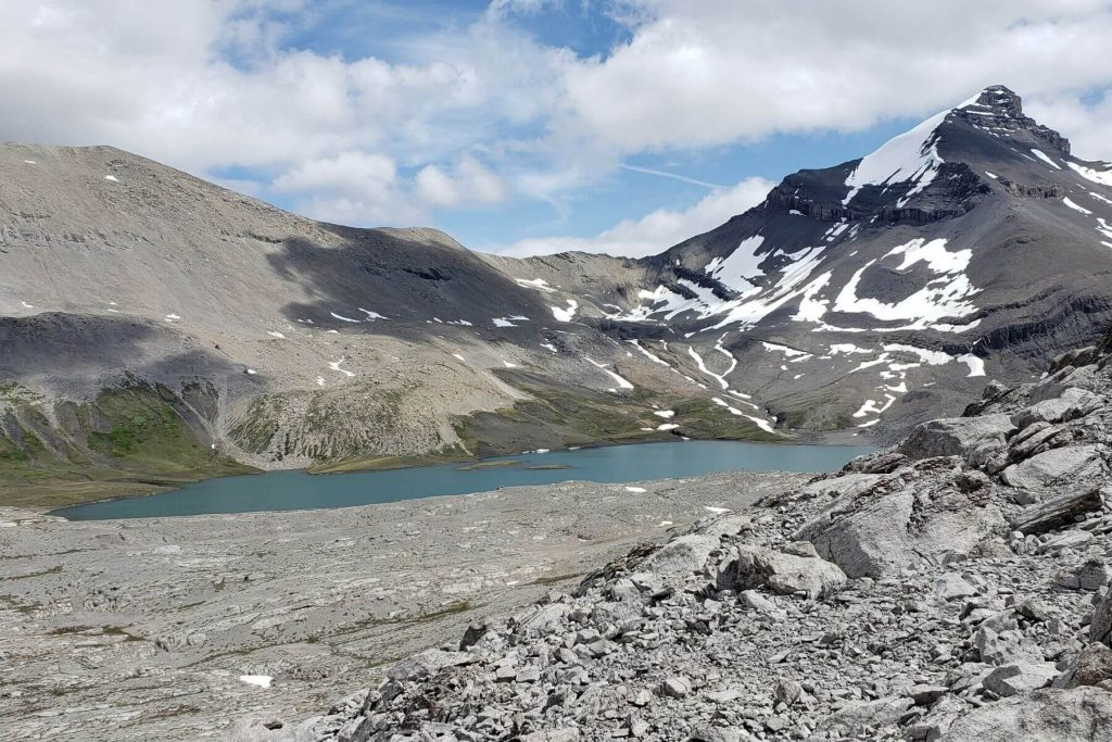 a glacier fed lake in the high alpine