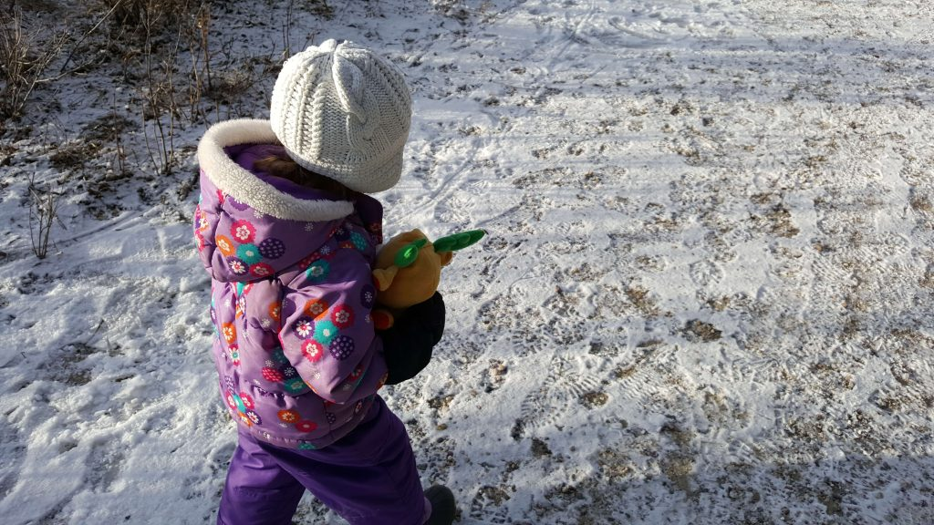 toddler carrying a stuffed animal on a winter hike