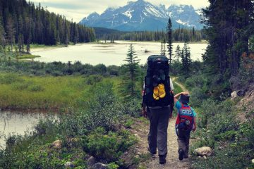 Father and son backpacking in the mountains