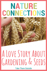 a hand holding wheat. text reads nature connections, a love story about gardening and seeds