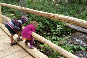 two kids leaning over the wooden railed bridge over a creek