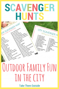 image of scavenger hunts, text reads scavenger hunts, outdoor family fun in the city