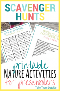 image of nature scavenger hunt printables, text reads scavenger hunts, printable nature activities