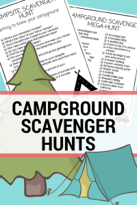 image of printable camping scavenger hunts with an illustrated tent and tree
