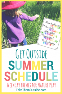 A girl wearing a purple shirt and red sun hat walking through the grass with an image of a week day summer schedule