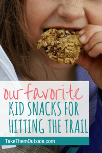 A close up of a girl eating a cookie, text reads our favorite kid snacks for hitting the trail