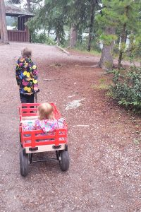 Older girl exploring nature while pulling a baby in a red wagon on a woodland path