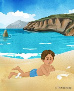 an illustration from the beedog, a small child on the sand at the ocean