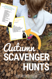 a toddler walking through pine cones, text reads autumn scavenger hunts