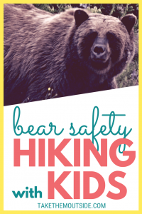 A brown bear, text reads bear safety, hiking with kids