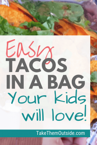 shredded lettuce and taco meat on top of Doritos, text reads easy tacos in a bag your kids will love
