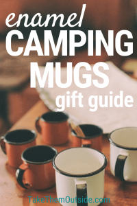 enameled coffee mugs on a table, text reads enamel camping mugs gift guide