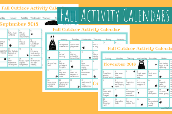 image of 3 fall activity calendars