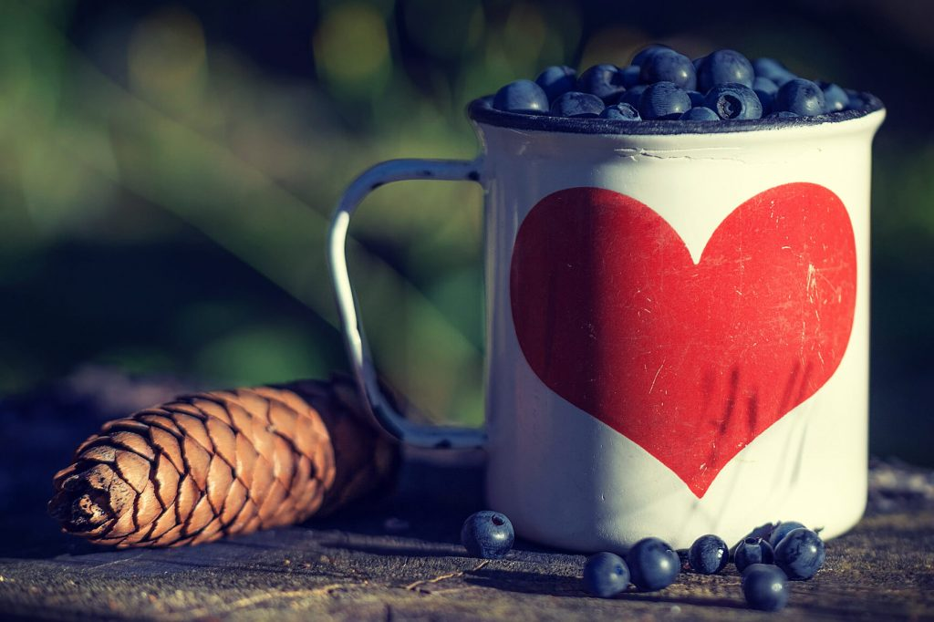 Blueberries spilling from an enamel camping mug with a big red heart on it