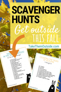 a golden tree with text overlay that reads scavenger hunts, get outside this fall