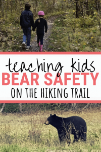 a image of kids walking in the woods and an image of a black bear in the woods