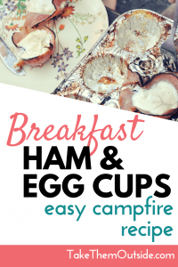 cooked egg cup and the muffin tin, text reads breakfast ham and egg cups