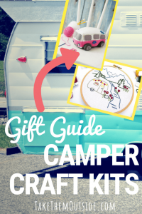 the back end of a vintage camper in aqua and white, text reads gift guide camper craft kits