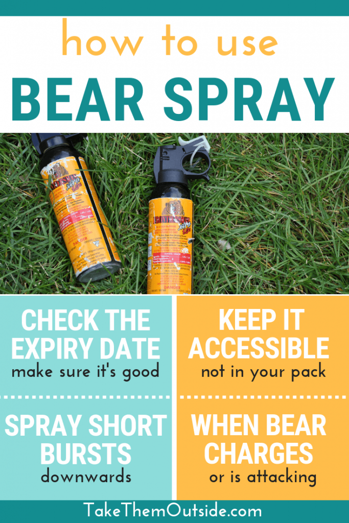 infographic on how to use bear spray or bear mace