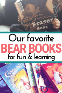 a young girl reading Fraser Bear and a pile of other bear books