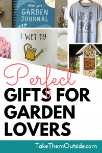 images of garden gift ideas, text reads perfect gifts for garden lovers