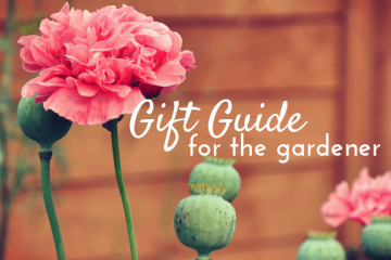 pink poppy against a wooden fence. text reads gift guide for the gardener