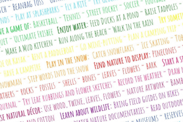 rainbow text listing all the ways we can bring more nature into our day