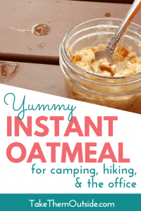 A mason jar of oatmeal on a wooden picnic table