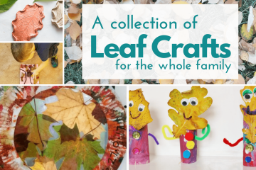 a collage of leaf art project ideas