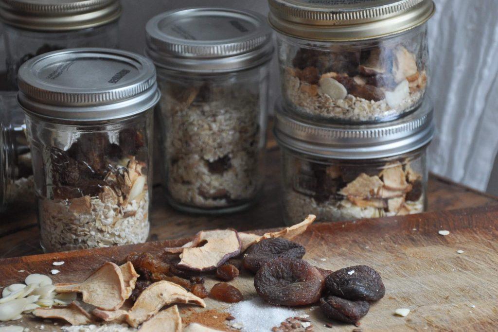 homemade mason jars full of camping oatmeals