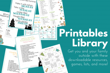images of printable outdoor games, scavenger hunts, and lists all available in the printables resource library