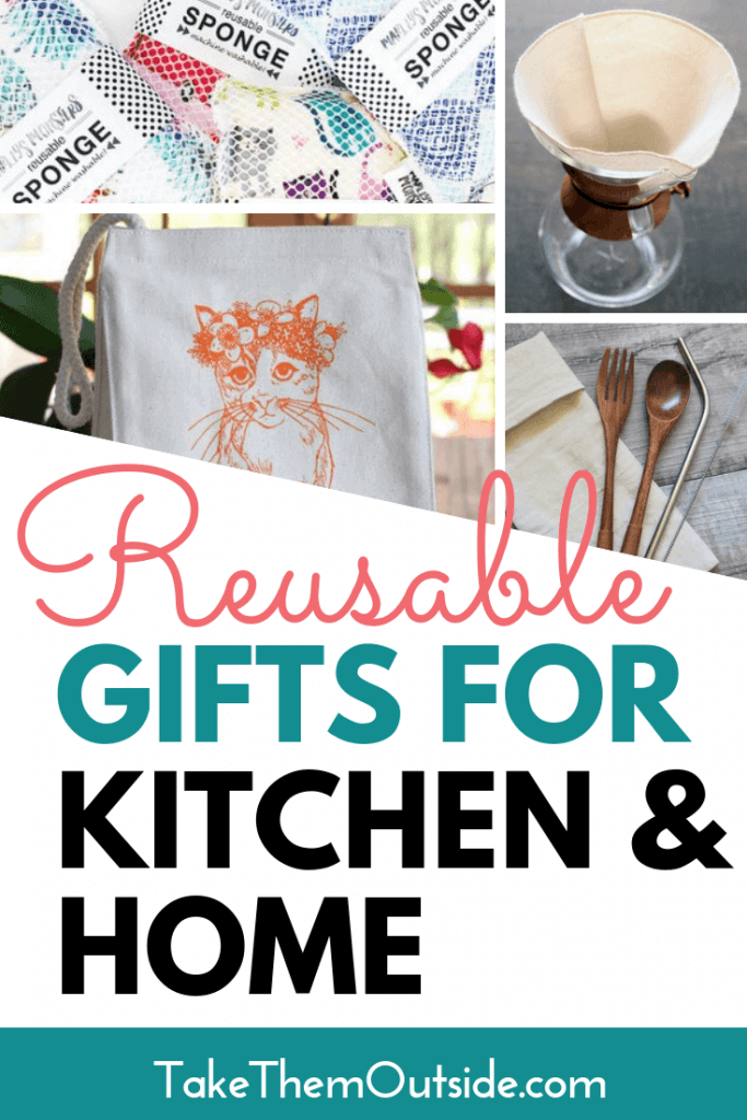 Various reusable household gift ideas like lunch totes, bamboo cutlery, cotton coffee filters